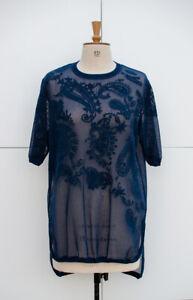 Sweaty Betty Tilia Mesh Embroidered T-Shirt, Navy Blue, Size M, UK 12