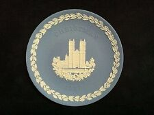 "Wedgewood Christmas 1977 Blue White Jasper 8"" Collector Plate Westminster Abbey"