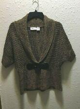 Allison Brittney Size L Chunky Brown Short Sleeve Cardigan Sweater Black Belt