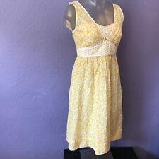 CYNTHIA STEFFE Yellow White Sleeveless Floral Eyelet Silk Blend Dress 0 GORGEOUS