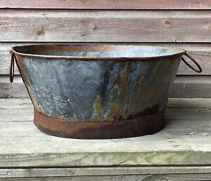 Vintage Galvanised Metal Tub - Storage / Planter