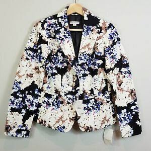[ QUEENSPARK ] Womens Hydrangea Print Blazer Jacket NEW | Size AU 8 or US 4