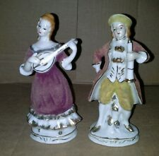 Rare Pair of Figurines Fuzzy Decorated Clothes Pat P21287 13338 Vtg Victorian
