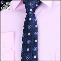 Navy with White Squares & Blue Rings Slim Tie