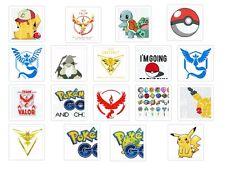 Pokemon Go Iron on T Shirt heat Transfer diy free postage Pikachu team Pokeball