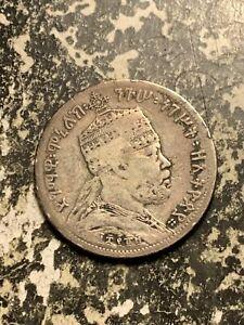 EE 1889 (1897) Ethiopia 1/4 Birr Lot#Q7408 Silver! Scarce! Km#14