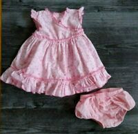 Koala Baby Girls 6-9 Months Pink Dress Floral Ruffles Cotton Outfit Button Back