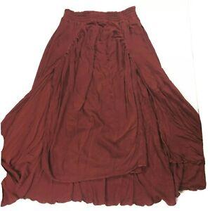 Laise Adzer Skirt Women's Small Medium Large Lagenlook Maroon Layered vtg