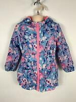 GIRLS EVIE ANGEL BLUE FLOWER PATTERN ZIP UP HOODED WINTER COAT KIDS AGE 4 YEARS