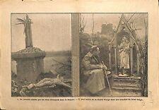 CALVAIRE christ Bataille de la Somme Statue Sainte Vierge WWI 1917 ILLUSTRATION
