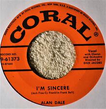 Alan Dale I'm Sincere Cherry Pink 45 NM Pop Male Vocal Coral 61373 Clean Copy