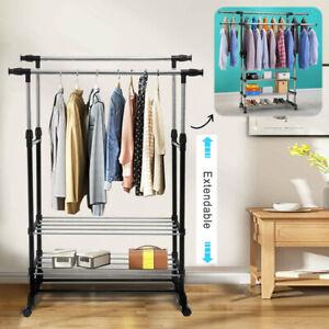Adjustable Clothes Rail Rack Garment Hanging Display Stand Shoe Storage Shelves