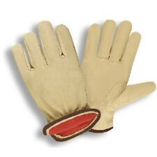 PREMIUM GRAIN COWHIDE DRIVER, RED FLEECE LINED GLOVES - Cold Weather - Large