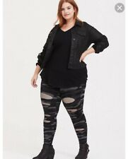 Torrid Grey Camo Leggings Slashed Fishnet Size4X Retails $32.90