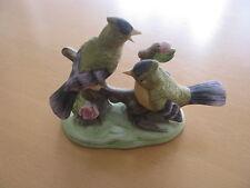 Keramik Figur Vogel Pärchen Vogel Familie 7 cm hoch schöne Bemalung 14 cm breit