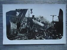 Real Photo Postcard Train Engine  on Tracks Hoisted by Crane CYKO stamp box