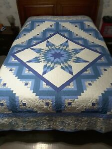 Handmade, queen size, Log Cabin Lone Star quilt