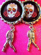 Day Of The Dead Sugar Skull With Walking Dead Zombie Dangle Charm Earrings #60