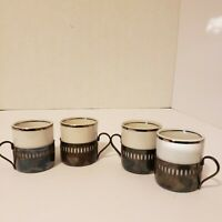 Lot of 4 PORCELANA VERACRUZ Espresso Cup Liners w BELLINI Holders Cafe Coffee