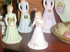Vintage!1982 Enesco Growing Up Birthday Girls.Year #9.(#14 and #16 are Sold)