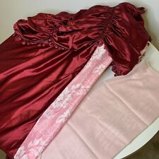 Vintage Drapes Drapery Set Curtains Tassels Colors Red Pink Ruffled Polyester