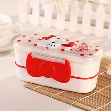 Hello Kitty Outside Double-Deck BENTO Lunch Box Sandwich Box For Girls Kids RED