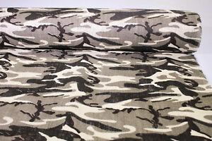 "Tan Camo Print Burlap Jute Fabric Decorative Camouflage 57"" Wide By The Yard"