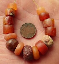 14mm Perles Ancien Afrique Ancient Mali African Neolithic Agate Carnelian Beads
