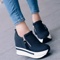 Women Platform Hidden Wedge Loafers Sneakers Slip On High Heels Casual Shoes