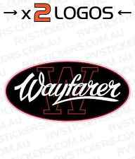 2x WAYFARER Logo Caravan decal, sticker, vintage, graphics