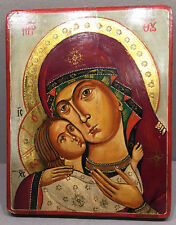 VINTAGE BYZANTINE EGG TEMPERA GOLD CANVAS WOOD ICON VIRGIN ELEUSA RUSSIAN ORTHO