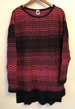 Missoni Women Dress Sweater Tunic Long Sleeve Chevron Black Pink EU 46 US 10