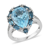 925 Sterling Silver Rhodium Over Blue Topaz Halo Ring Jewelry Gift Ct 5.1