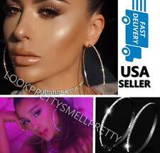 Oversize Large Silver Rhinestone Crystal Hoop Earrings Big Circle 4 inch