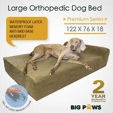 Big Paws Cool Gel Memory Foam Dog Bed Large Orthopedic Dog Beds Bolster Headrest
