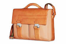 Piquadro Light Tan Briefcase w/ 2 front pockets, pc sleeve, safe key CA1044IC/CU