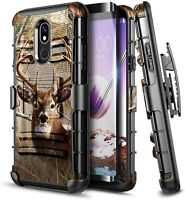 For LG Escape Plus Case Armor Belt Clip Holster Kickstand Cover + Tempered Glass
