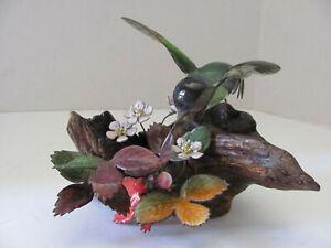 Vtg. Brumm Hummingbird Enamel on Copper Sculpture Wild Strawberries Burled Wood