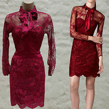 Karen Millen Maroon Lace Applique Long Sleeve Cocktail Wedding Elite Dress 6 UK