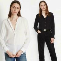HOT Sale! Equipment BLOUSE 100% REAL SILK SHIRT BLACK WHITE OL TOPS Size XXS-XL