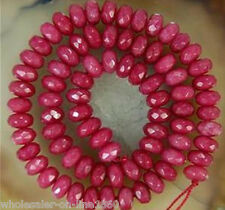 """5x8mm Naturel Facette Rouge Brésil Ruby Abacus Gemstone Loose Beads 15/"""" AAA"""