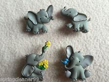 Dress it up boutons ~ tiny trunks ~ 4 adorables bébés éléphants ~ zoo ~ safari