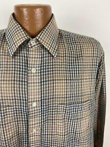 Vintage Plaid Shirt Brown Black Gray L Long Sleeve Button Down Poly Blend 80s
