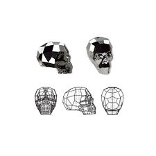 Swarovski Crystal Beads Faceted Skull 5750 Silver Night 2X 14x13x10mm
