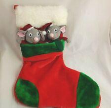 "Plush Christmas Stocking 2 Stuffed Mice  19"" White Fuzzy Pocket"