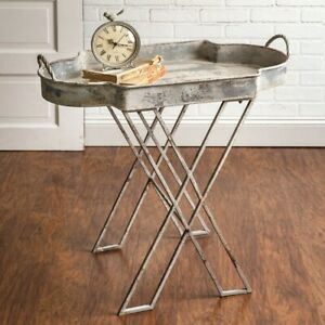 Rustic Farmhouse Decor Metal Butler Tray Stand