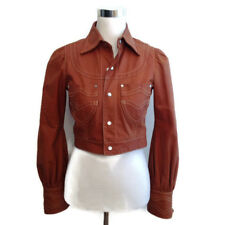 Dsquared 2 Leather Jacket 40 Brown Cropped Long Sleeve Coat Women's Carmel