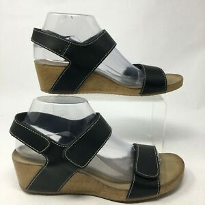 Clarks Women 8.5M Alto Madi Slingback Wedge Sandals Black Leather Hook & Loop