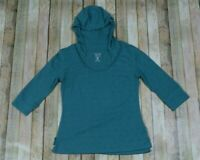 Mountain Hardwear Hooded Athletic Pullover Top Womens Medium Green Hike Camp