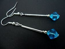 Glass Crystal Silver Plated Earrings. A Pair Of Dangly Blue
